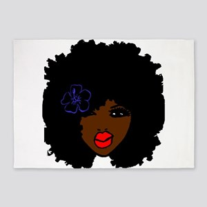 BrownSkin Curly Afro Natural Hair?? 5'x7'Area Rug