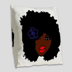 BrownSkin Curly Afro Natural H Burlap Throw Pillow