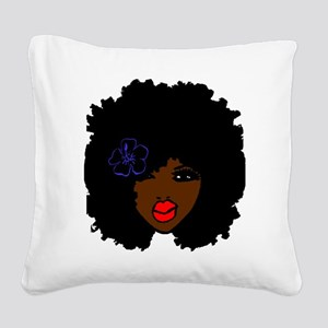 BrownSkin Curly Afro Natural Square Canvas Pillow