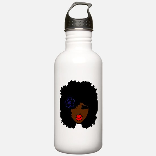 BrownSkin Curly Afro N Water Bottle