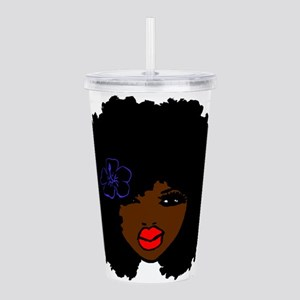 BrownSkin Curly Afro N Acrylic Double-wall Tumbler