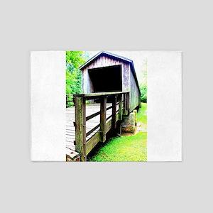 Covered Bridge. 5'x7'Area Rug