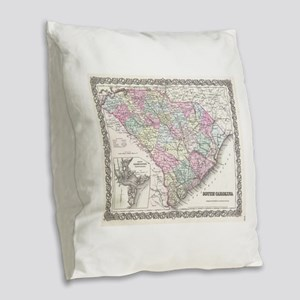 Vintage Map of South Carolina Burlap Throw Pillow