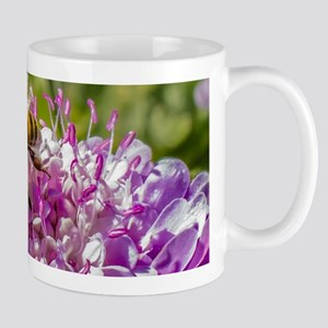 Honeybee on a Pincushion Flower Mugs