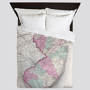 Vintage Map of New Jersey (1855) Queen Duvet