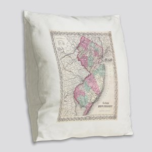 Vintage Map of New Jersey (185 Burlap Throw Pillow