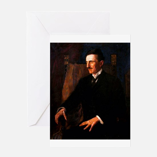 Nikola Tesla - the Blue Portrait Greeting Cards