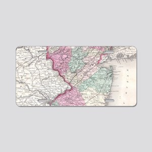 Vintage Map of New Jersey ( Aluminum License Plate