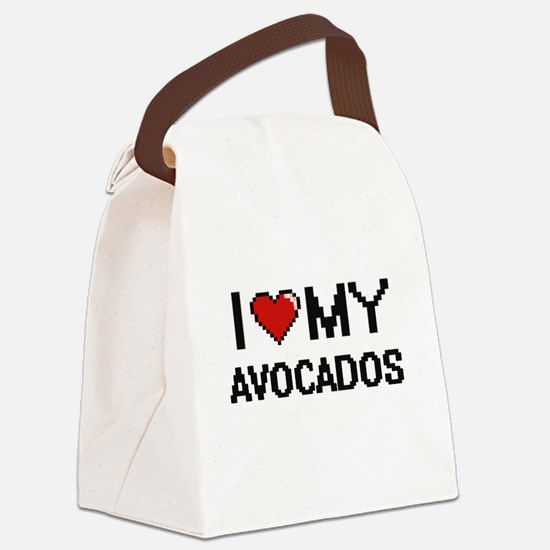 I Love My Avocados Digital design Canvas Lunch Bag