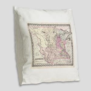 Vintage Map of Minnesota (1855 Burlap Throw Pillow