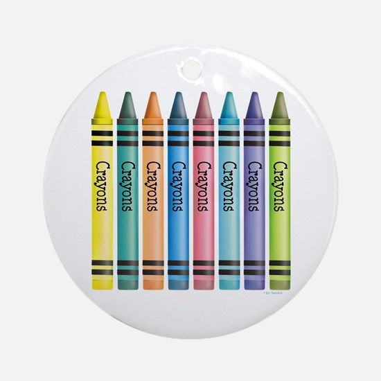 Colorful Crayons Ornament (Round)
