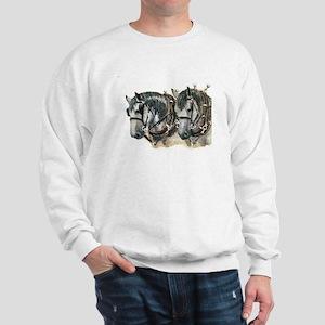 Team of percherons, Gray Sweatshirt