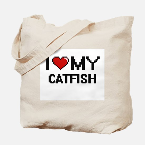 I Love My Catfish Digital design Tote Bag