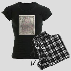 Vintage Map of Michigan (185 Women's Dark Pajamas