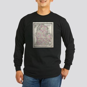 Vintage Map of Michigan (1855) Long Sleeve T-Shirt