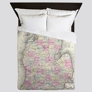 Vintage Map of Michigan (1855) Queen Duvet