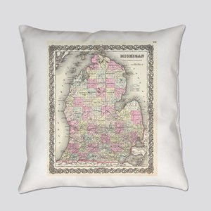Vintage Map of Michigan (1855) Everyday Pillow
