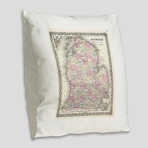 Vintage Map of Michigan (1855) Burlap Throw Pillow