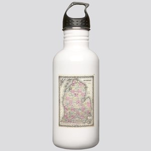 Vintage Map of Michiga Stainless Water Bottle 1.0L