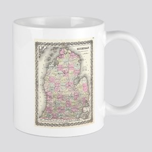 Vintage Map of Michigan (1855) Mugs