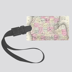 Vintage Map of Michigan (1855) Large Luggage Tag