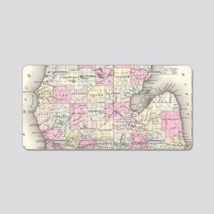Vintage Map of Michigan (18 Aluminum License Plate