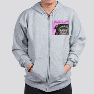 Whatcha Eatin Black Pug Men's Zip Hoodie
