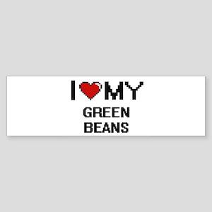 I Love My Green Beans Digital desig Bumper Sticker