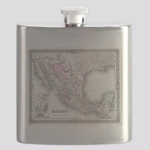 Vintage Map of Mexico (1855) Flask