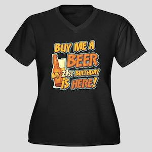 Buy Beer 21st Birthday Plus Size V-Neck Dark Tee