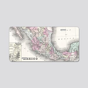 Vintage Map of Mexico (1855 Aluminum License Plate