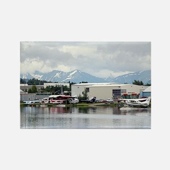 Lake Hood, Alaska, and mountains Rectangle Magnet