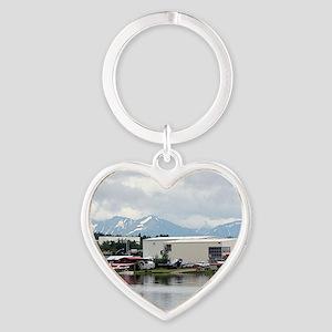 Lake Hood, Alaska, and mountains Heart Keychain