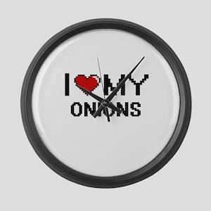 I Love My Onions Digital design Large Wall Clock