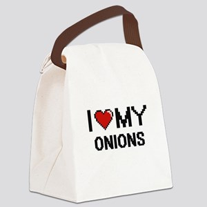 I Love My Onions Digital design Canvas Lunch Bag