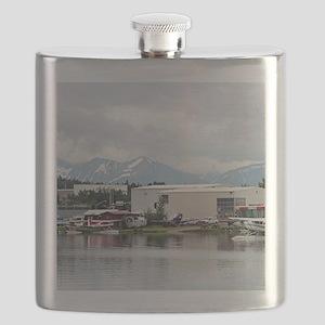 Lake Hood, Alaska, and mountains Flask