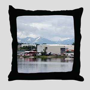Lake Hood, Alaska, and mountains Throw Pillow
