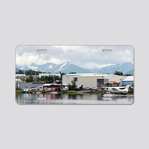 Lake Hood, Alaska, and moun Aluminum License Plate