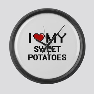 I Love My Sweet Potatoes Digital Large Wall Clock