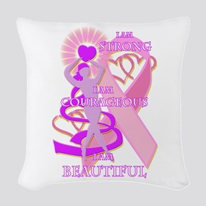 STRONG COURAGEOUS AND BEAUTIFUL Woven Throw Pillow