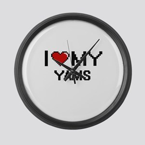 I Love My Yams Digital design Large Wall Clock