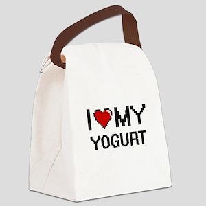 I Love My Yogurt Digital design Canvas Lunch Bag