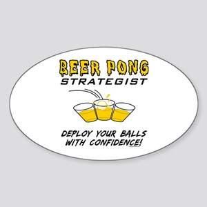 Beer Pong Strategist Oval Sticker