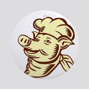 Pig Chef Cook Head Looking Up Woodcut Round Orname