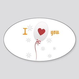 Love I Heart You Sticker (Oval)