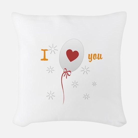 Love I Heart You Woven Throw Pillow