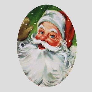 Vintage Santa Face 1 Oval Ornament