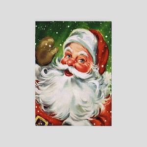 Vintage Santa Face 1 5'x7'Area Rug