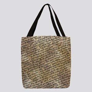 Poe Raven Text Pattern Polyester Tote Bag