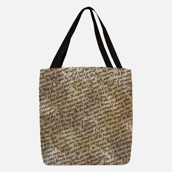 Poe Raven Text Pattern Polyester Tote Bag